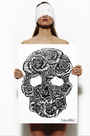 Canvas Skull Rose Art - Lauren Moshi
