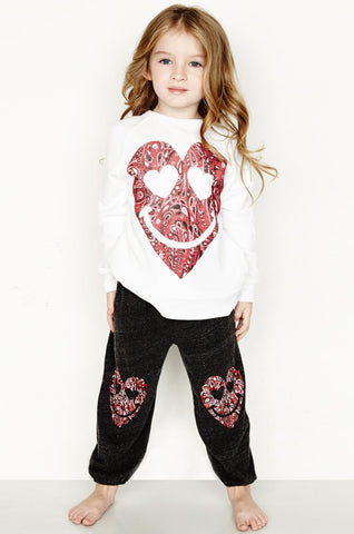 Lauren Moshi Kids Women's Bolt Red Bandana Heart L/S Vintage Pullover - White