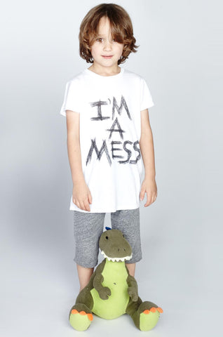 Lauren Moshi Kids Women's Piglet I'm A Mess S/S Basic Tee - White