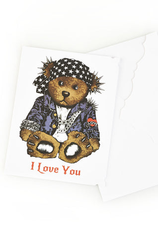 Lauren Moshi Women's Color Rocker Teddy Greeting Card - White