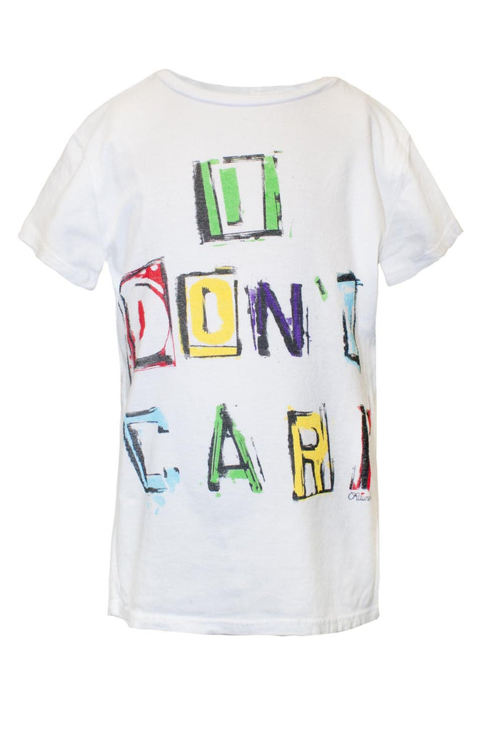 Puff Multi Color I Don't Care Asymmetrical Hem Tee