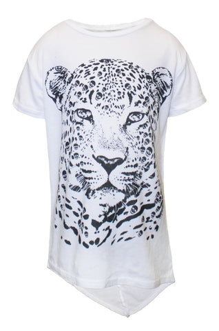 Lauren Moshi Kids Women's Puff Sml Leopard Head Asymmetrical Hem Tee - White