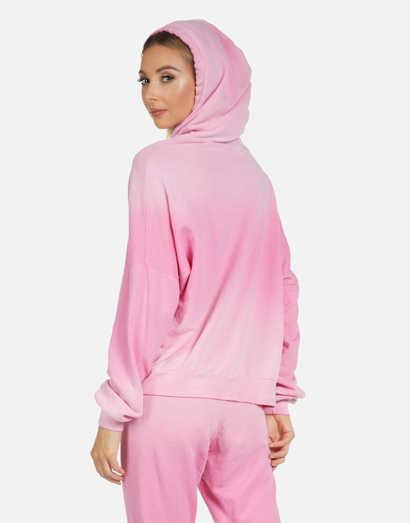 Gower LE Party Pink Ombre Crop Hoodie