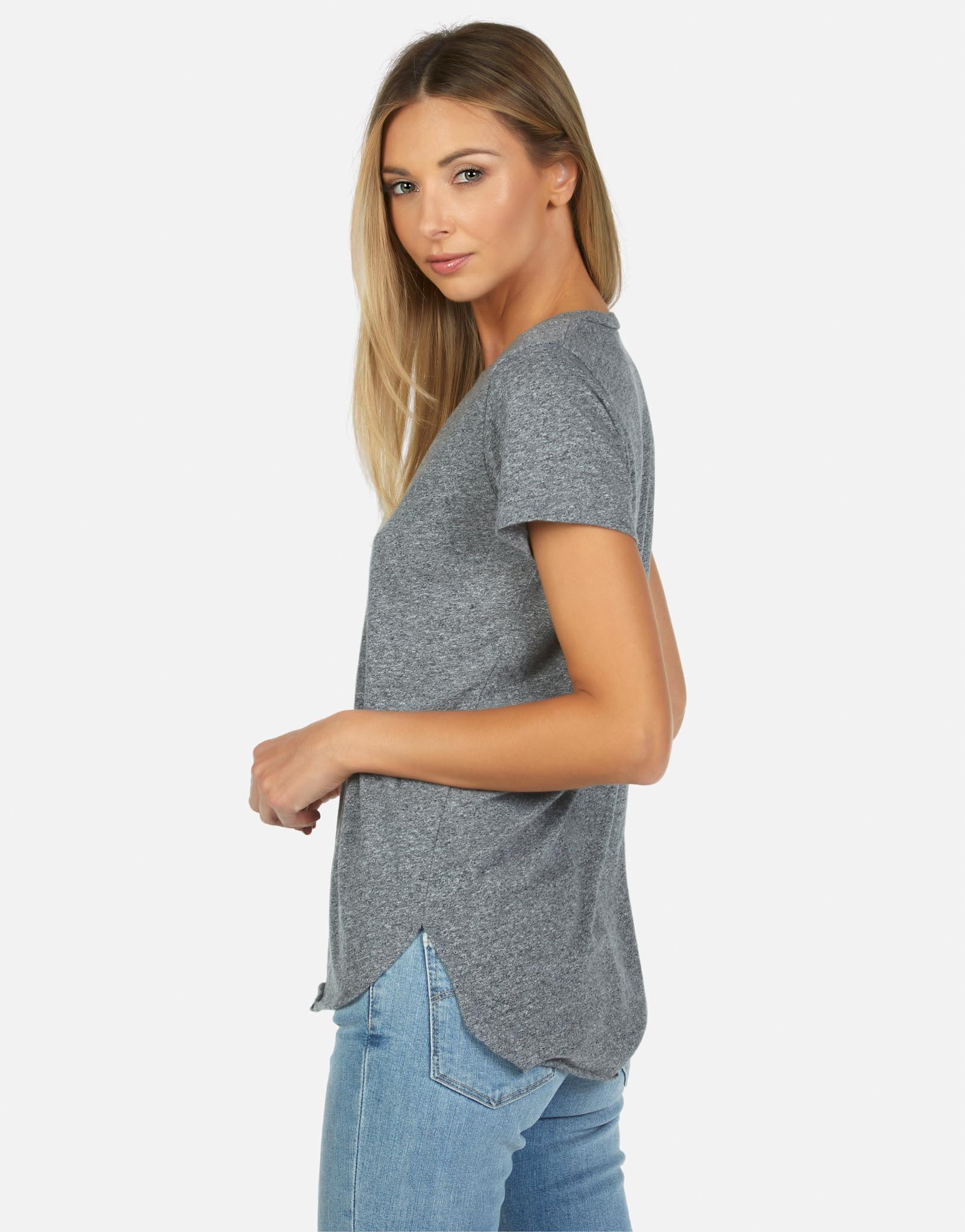 d7d0b04744bd6b Women s S S V-Neck Tee w  Side Slit