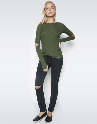 Michael Lauren Women's Solomon L/S Fitted Tee w/Elbow Slits