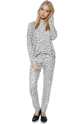 Michael Lauren Women's Bear Classic Sweatpant w/ Cuff in Leopard