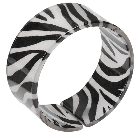 Wide Metallic Silver Zebra Print Resin Cuff