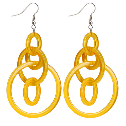 Golden Yellow Multi-Hoop Resin Earrings