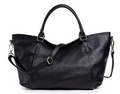 Black Pebble Leather Ladies Overnight Bag