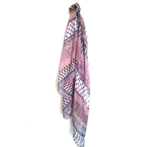 Soft Pink Printed Viscose Scarf