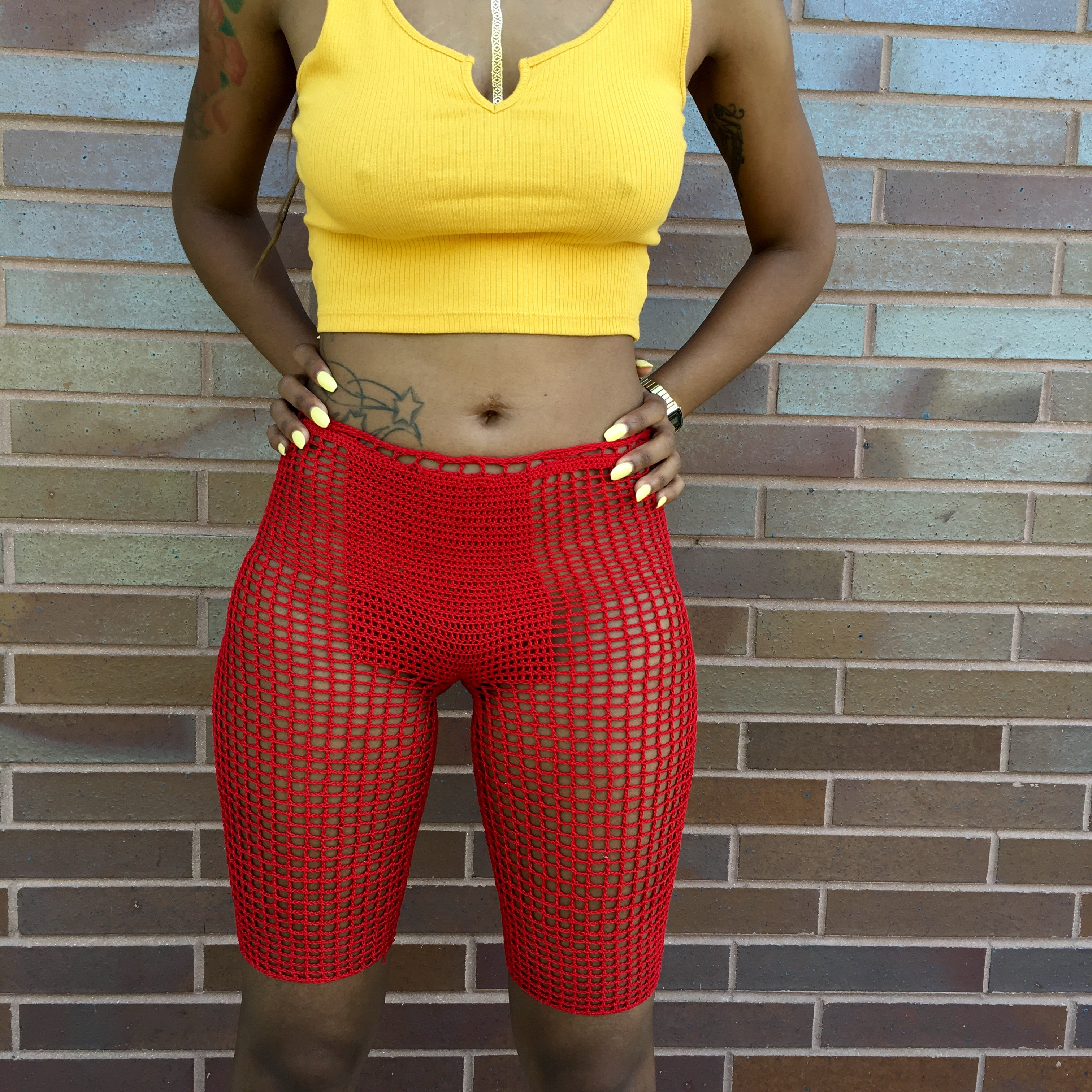 Red Element Mesh Shorts