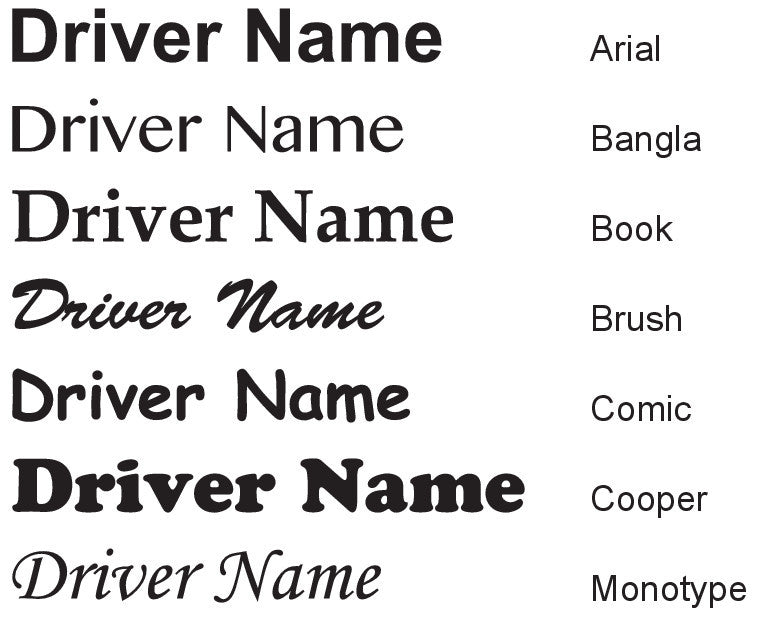 Race Car Driver's Name Decal