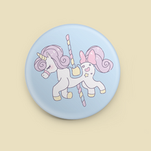 "Load image into Gallery viewer, Carousel Unicorn 1.5"" Button"