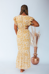 Zaina Yellow Printed Maxi