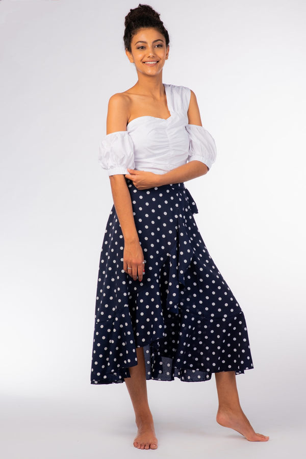 Dark Blue Polka Dot Skirt