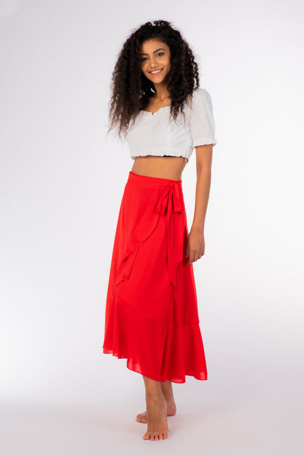 Red Ruffle Skirt