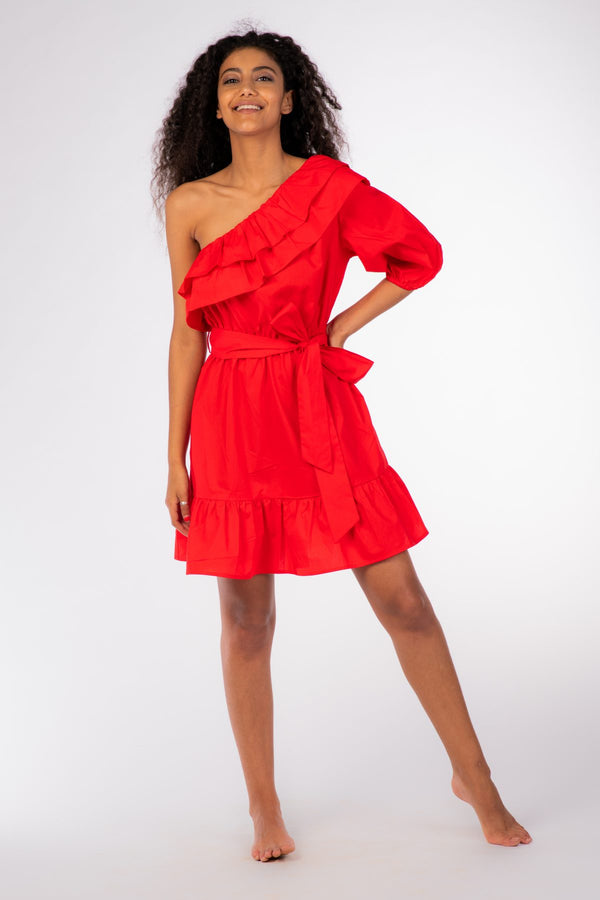 Red Off Shoulder Midi