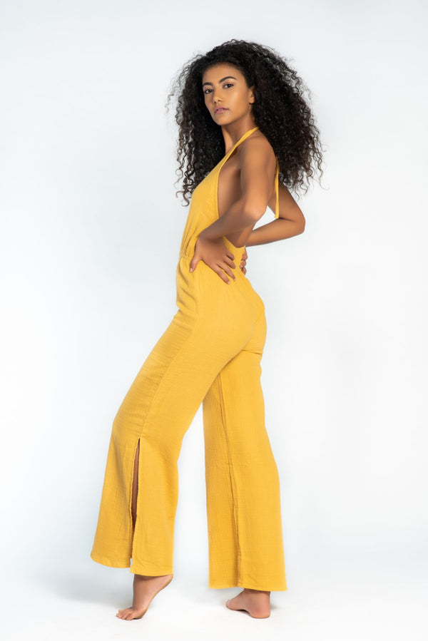 Yellow Halter Jumpsuit