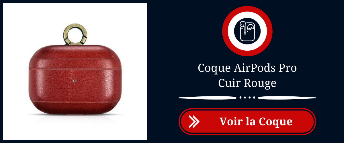 coque airpods pro cuir rouge