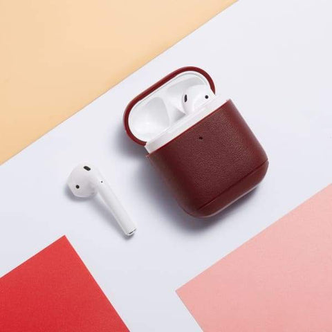 Coque AirPods Cuir Rouge - Airpods 1 & 2