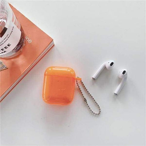 Coque AirPods Orange Transparente - Airpods 1 & 2