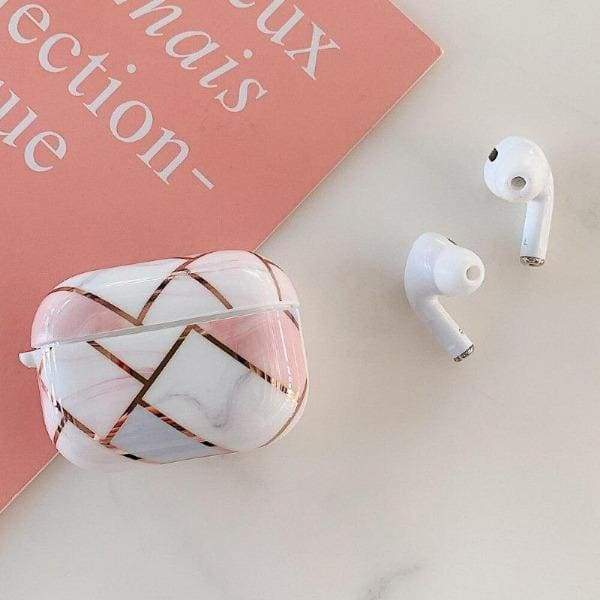Coque AirPods Pro Geometrique - Blanc & Rose - Airpods