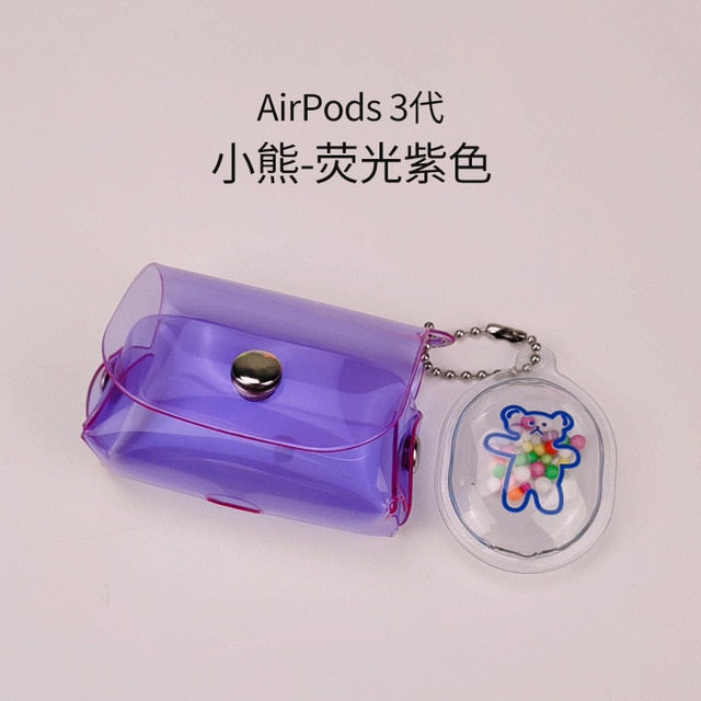 for Airpods Pro Case Purple Girl Bag with Bear Chai for AirPods 12 Silicone Shockproof Protective Cover Charging Box Accessories