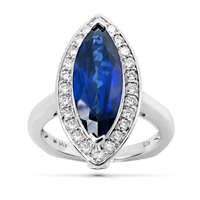 Marquise Created Sapphire & 5/8 CT. T.W. Man-made Diamond Accent Statement ring in Sterling silver - For The Love of Jewelry