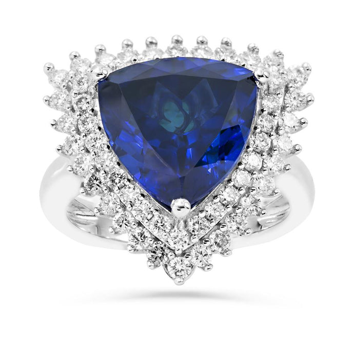 Trillion Created Sapphire  & 1.0 CT. T.W. Man-made Diamond accent statement ring in Sterling silver - For The Love of Jewelry