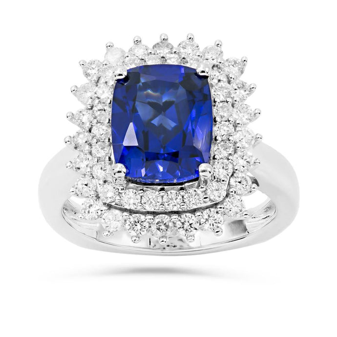 Cushion Created Sapphire & 1 CT. T.W. Diamond Accent Halo ring in Sterling Silver - For The Love of Jewelry