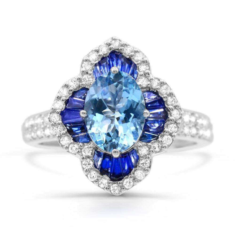 Oval Blue Zircon with Blue Sapphire and Diamond Ring in 14K White Gold - For The Love of Jewelry