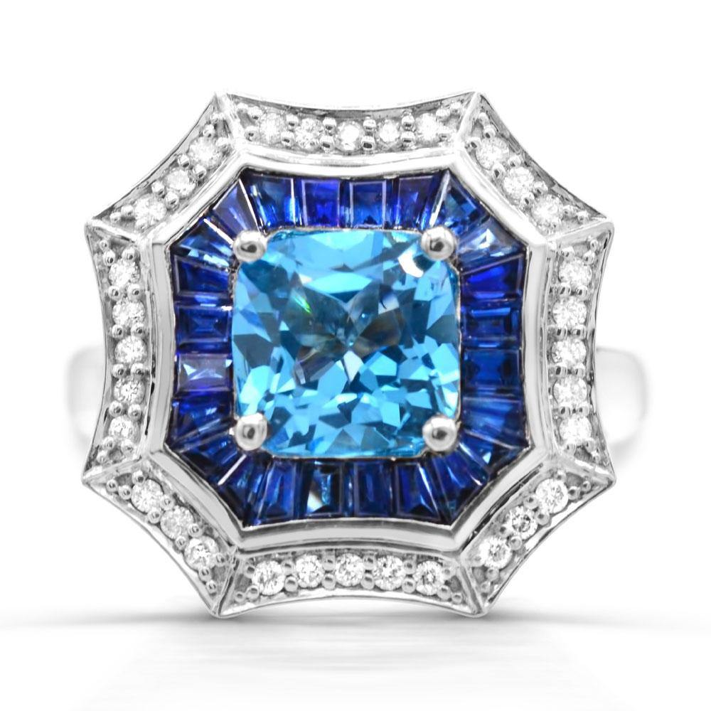 Swiss Blue Topaz with Blue Sapphire and Diamond Accent Ring in 14K White Gold - For The Love of Jewelry