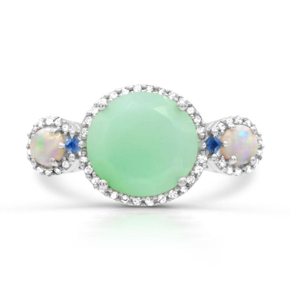 Round Chrysoprase, Opal, Blue Sapphire and Diamond Ring in Sterling Silver - For The Love of Jewelry