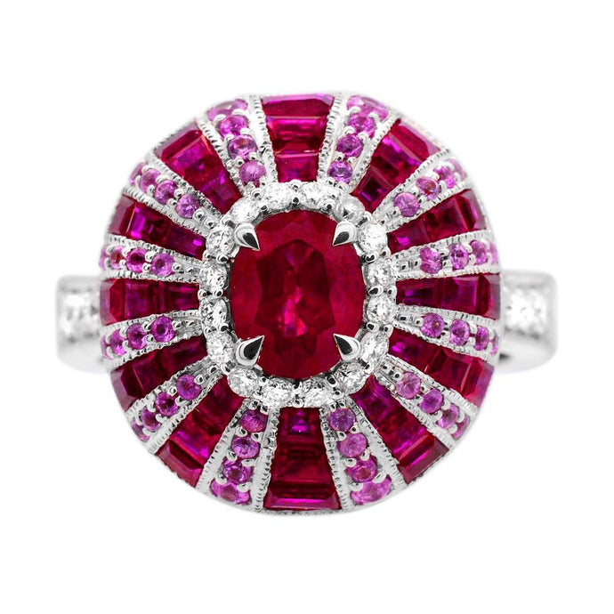 Oval Ruby with Pink Sapphire and 1/4 ct. t.w. Diamond Ring in 14K White Gold - For The Love of Jewelry