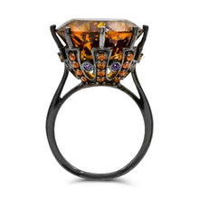 Load image into Gallery viewer, Round Citrine with Orange Sapphire and Iolite accent Cocktail Ring in Blackened Sterling Silver - For The Love of Jewelry
