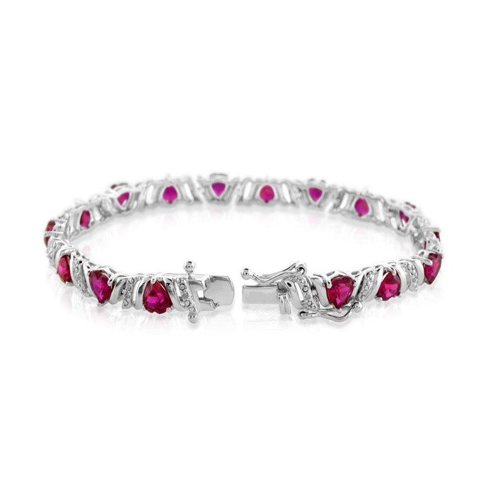 Heart Lab Created Ruby and Diamond Bracelet in Sterling Silver - For The Love of Jewelry
