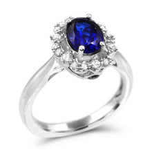 Load image into Gallery viewer, Oval Created Sapphire & 1.0 CT T.W. Man-made Diamond accent halo ring in Sterling Silver - For The Love of Jewelry