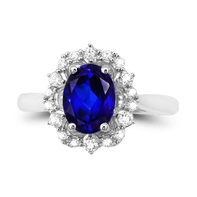 Oval Created Sapphire & 1/4 CT. T.W.  Man-made Diamond accent ring in Sterling silver - For The Love of Jewelry