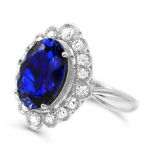 Load image into Gallery viewer, Oval Created Sapphire & 1.0 CT. T.W. Man-made Diamond Halo ring in Sterling silver - For The Love of Jewelry