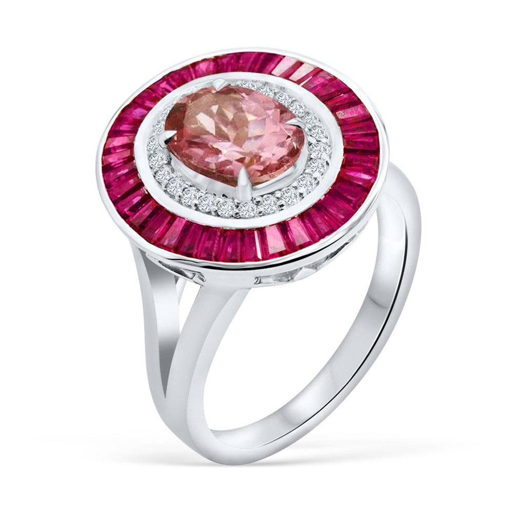 Oval Pink Tourmaline with Ruby and Diamond Ring in 14K White Gold - For The Love of Jewelry