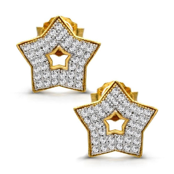 Diamond Star Stud Earrings in 10K Yellow Gold - For The Love of Jewelry
