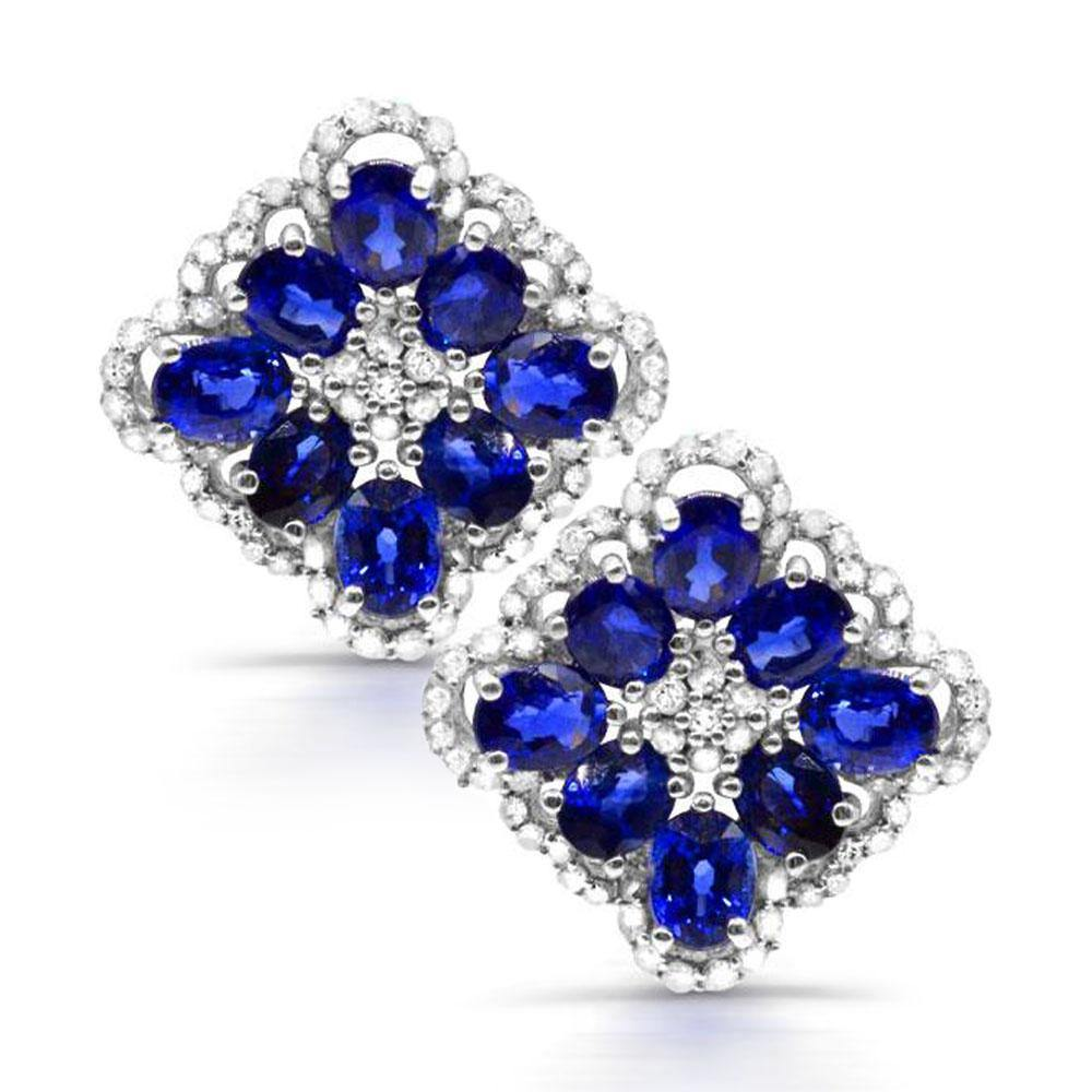 Oval Blue Sapphires with Diamond Accented Earrings in 10K White Gold - For The Love of Jewelry