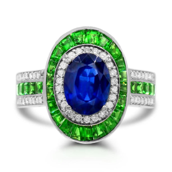 African Sapphire with Tsavorite and Diamond Accent Ring in 14K White Gold - For The Love of Jewelry