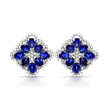 Load image into Gallery viewer, Oval Blue Sapphires with Diamond Accented Earrings in 10K White Gold - For The Love of Jewelry