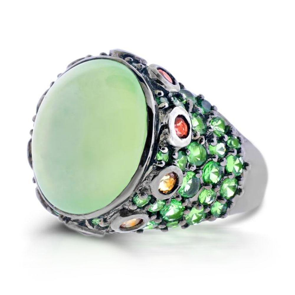 Cabochon Prehnite and Tsavorite Sterling Silver Cocktail Ring - For The Love of Jewelry