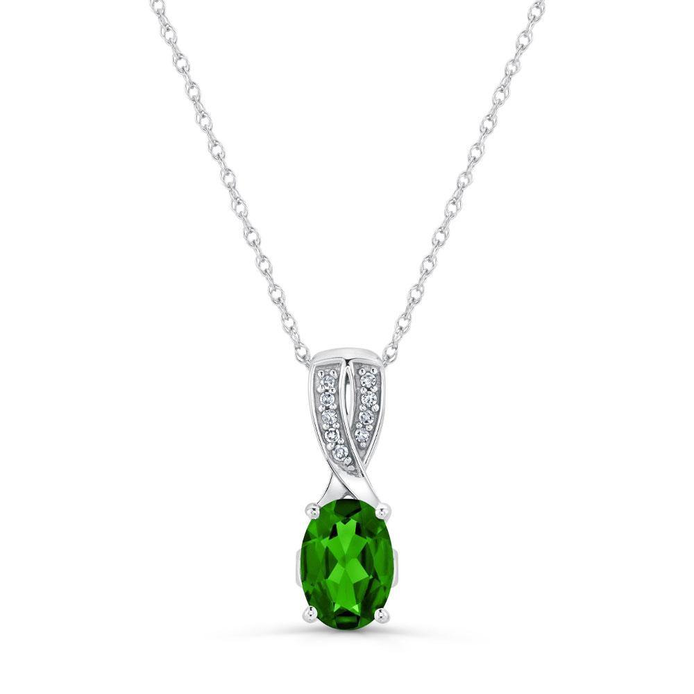 Oval Chrome Diopside with Diamond Pendant in 10K White Gold - For The Love of Jewelry
