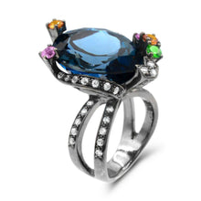 Load image into Gallery viewer, Pear Blue Topaz with Multicolor Gemstone Statement Ring in Sterling Silver - For The Love of Jewelry