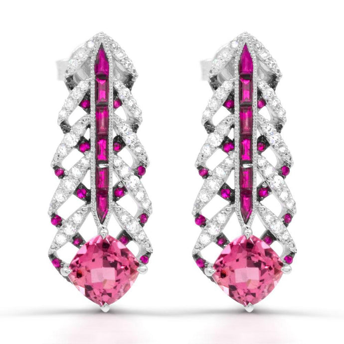 Cushion Pink Tourmaline with Pink Sapphire, Ruby and Diamond Earrings in 14K White Gold - For The Love of Jewelry
