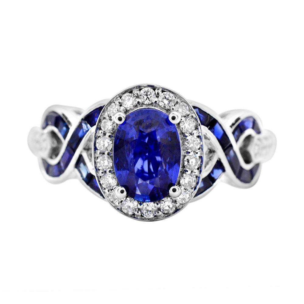 Oval Blue Sapphire with Diamond and Baguette Blue Sapphire Ring in 14K White Gold - For The Love of Jewelry