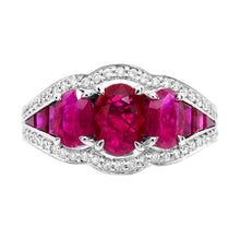 Load image into Gallery viewer, Oval Ruby With Diamond and Baguette Ruby Ring in 14K White Gold - For The Love of Jewelry